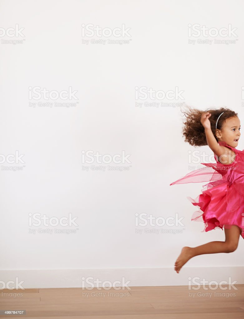 If I run fast enough I'll be able to fly stock photo