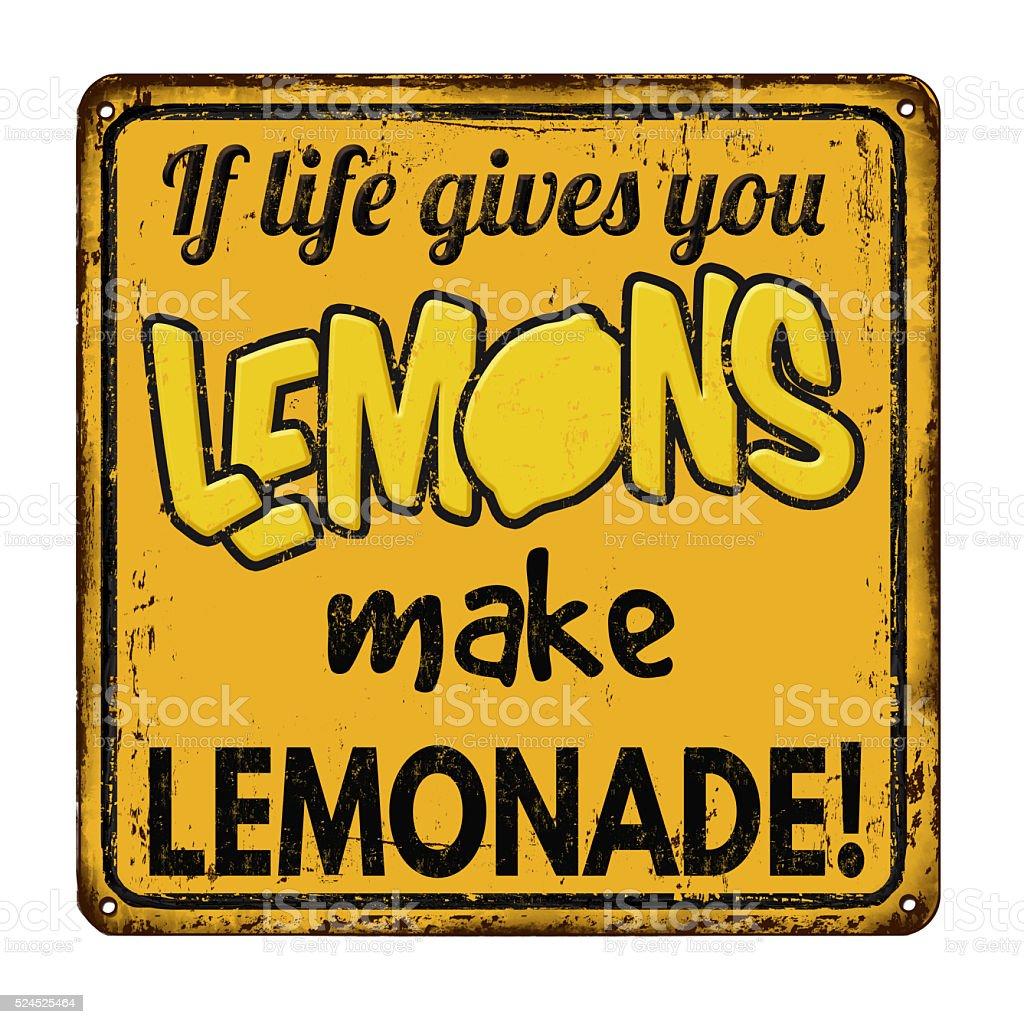 If life gives you lemons make lemonade vintage sign stock photo
