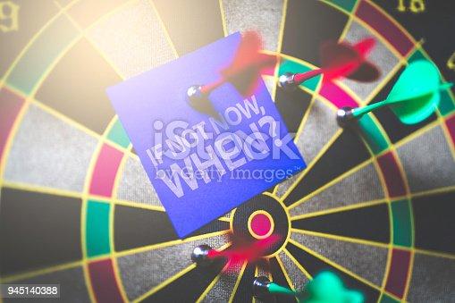 istock If Not Now, When? written on Arrow in the bullseye 945140388