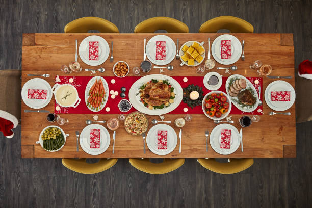 if there's food, i'll be there - dining table stock photos and pictures