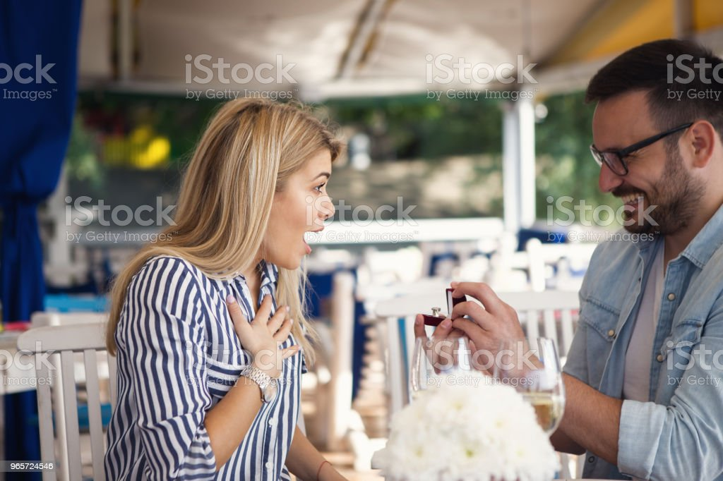 Handsome bearded young man proposed to his beautiful blonde...