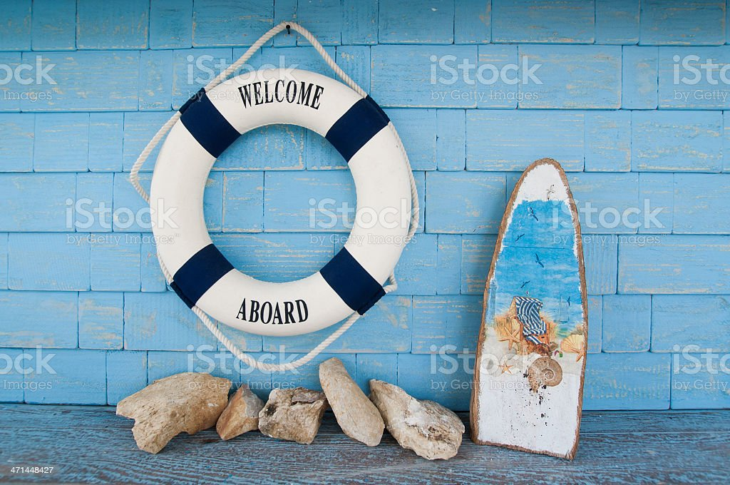 ife buoy with welcome aboard wording royalty-free stock photo