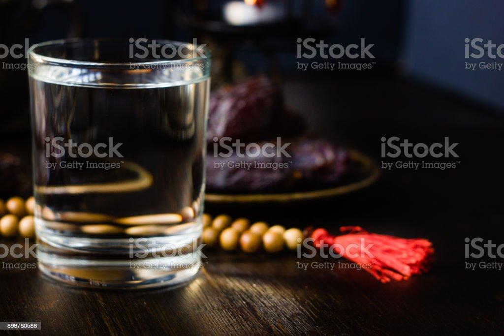 Iftar water for Ramadan fast opening. stock photo