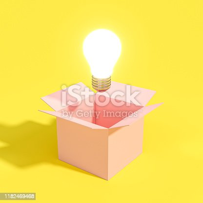 istock ight bulb coming out of an empty box. 1182469468