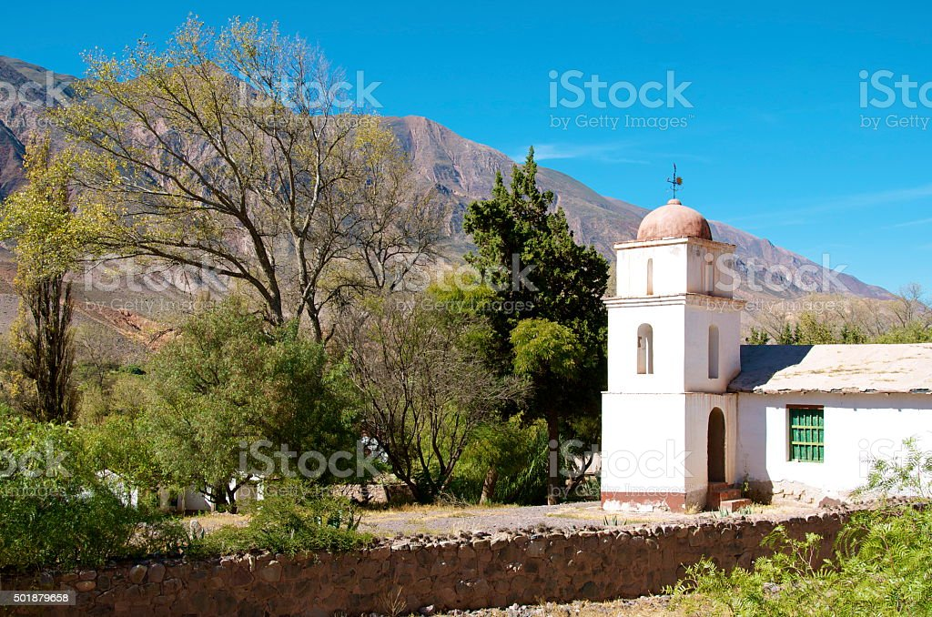 Iglesia along a road in Argentina stock photo