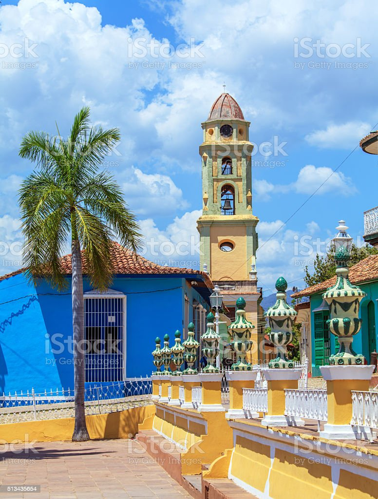 Iglesia de San Francisco de Asisin the old town, Trinidad stock photo