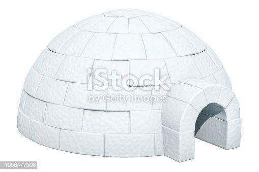 453066423 istock photo Igloo, 3D rendering isolated on white background 1056477506