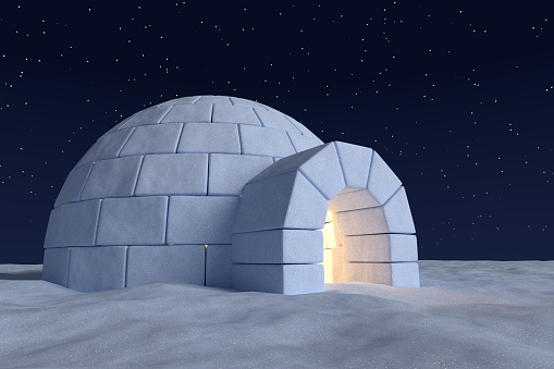 Igloo Icehouse With Warm Light Inside Under Sky With Stars ...