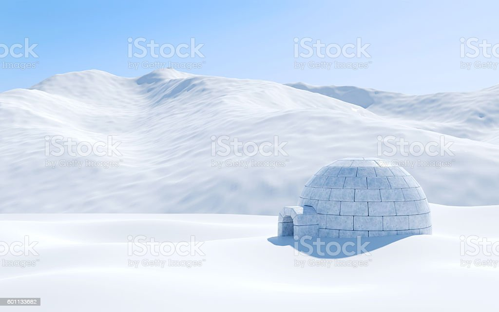 Igloo isolated in snowfield with snowy mountain, Arctic landscape scene – zdjęcie