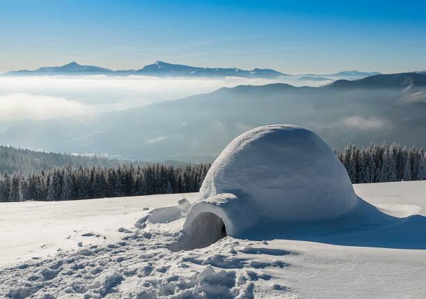 igloo on the snow stock photo