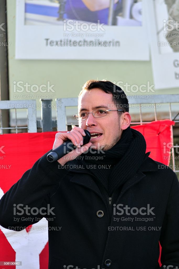 Ignaz Bearth speaking at protest rally stock photo
