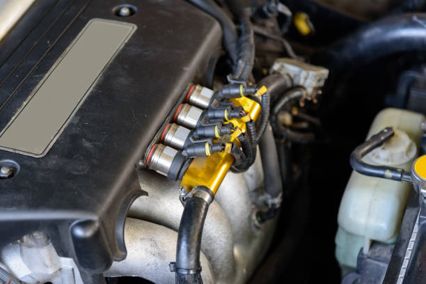 Ignition coil of  car engine stock photo