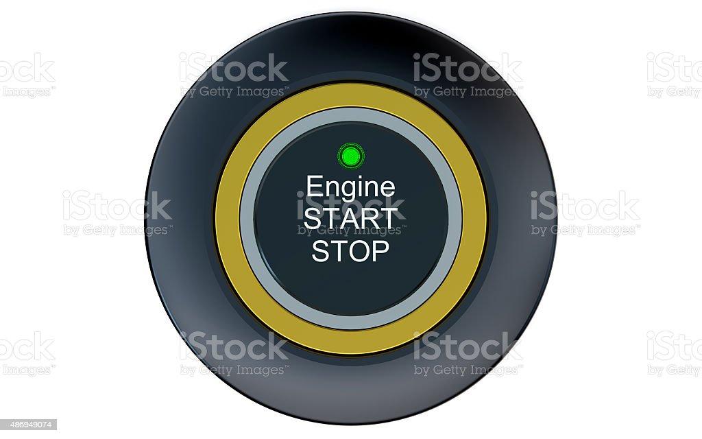 Ignition start button closeup stock photo