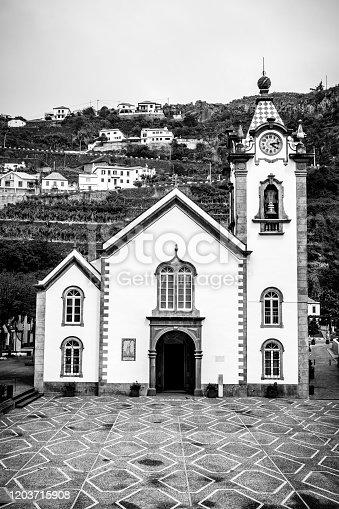 Igreja de São Bento or Saint Benedict Church on Madeira island in the town of Ribeira Brava on the South coast during an overcast  summer day.