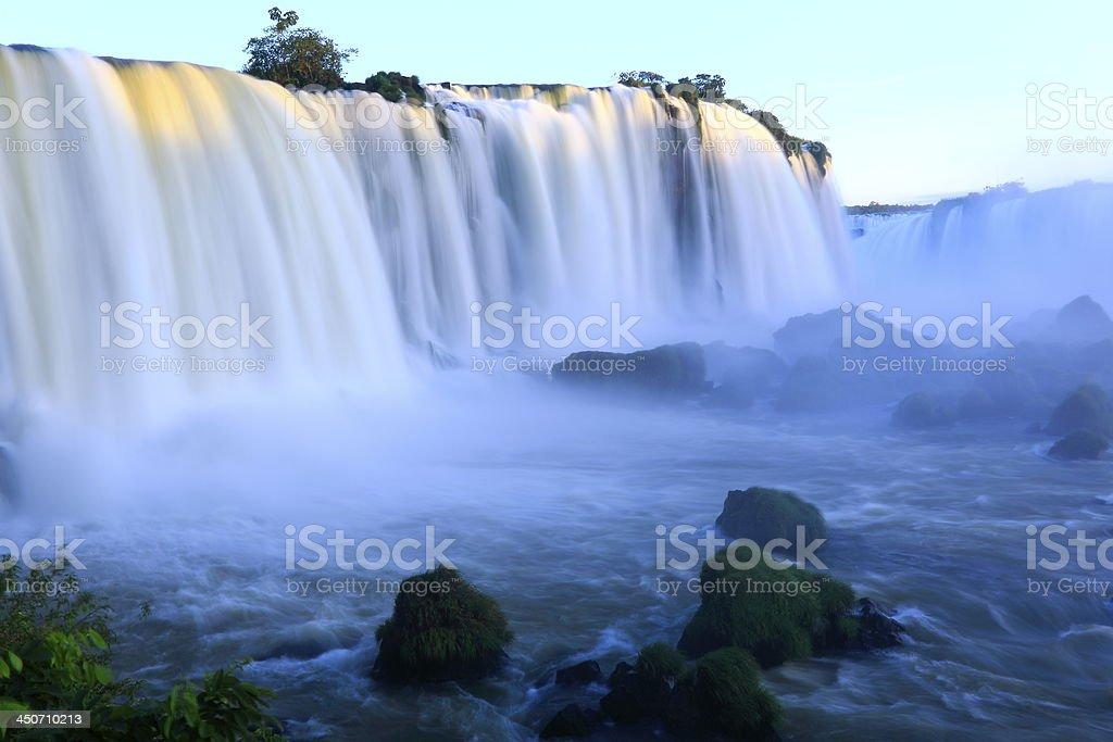 Iguacu Falls at sunset long exposure, Brazil - South America stock photo