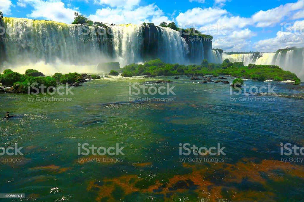 Iguacu Falls low angle - waterfall, Brazil, South America stock photo