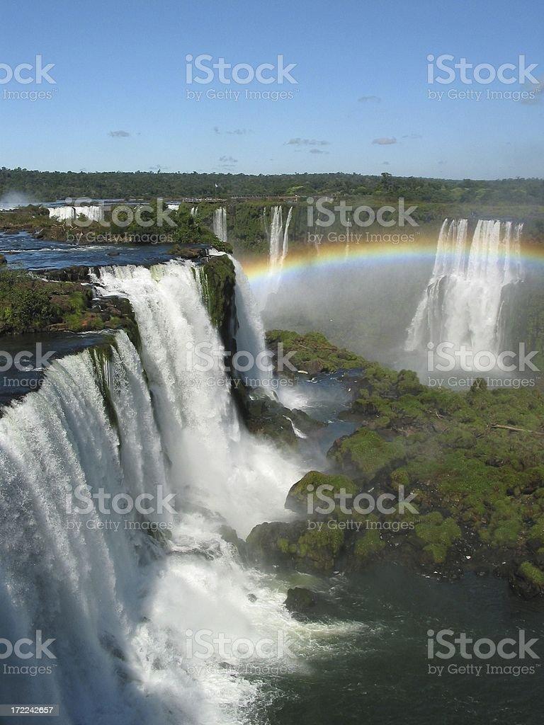Iguacu Falls Waterfall with Rainbow royalty-free stock photo