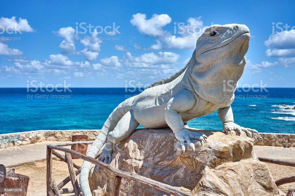 Iguana made of stone stock photo