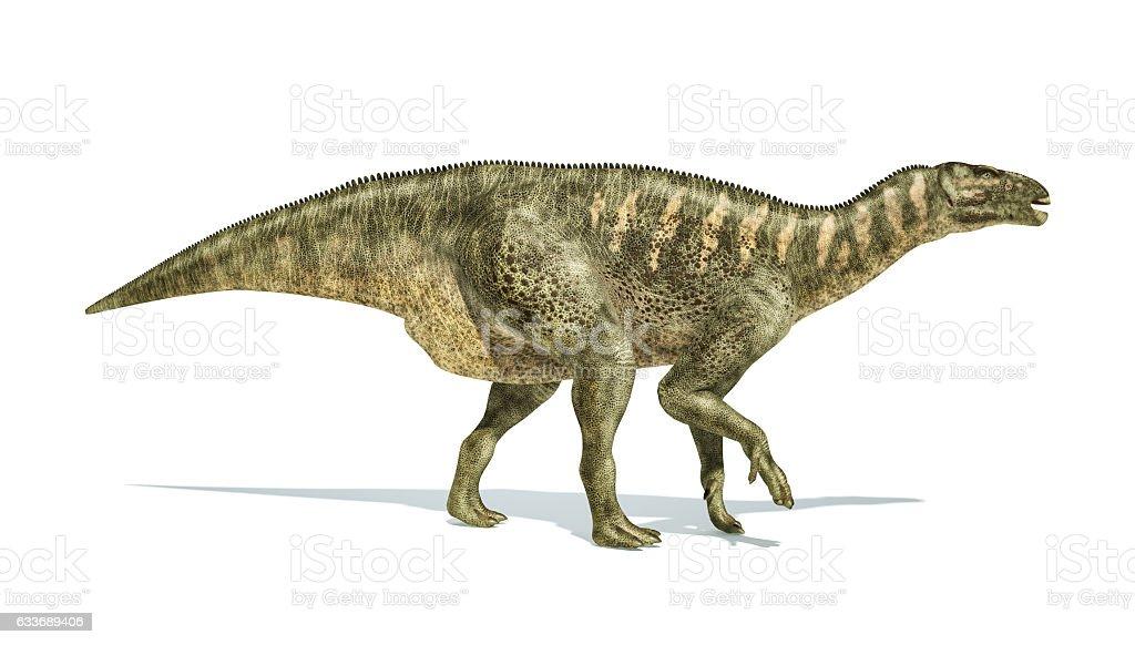 Iguanodon Dinosaur photorealistic representation, side view. stock photo