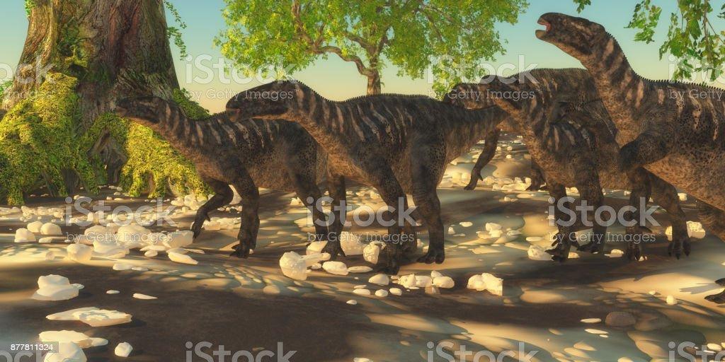 Iguanodon Dinosaurs stock photo