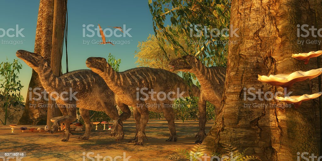 Iguanodons in Forest stock photo