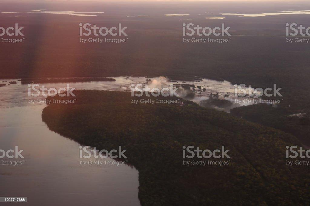Iguassu river and Iguassu falls seen from above - Rio e Cataratas do Iguaçu vistos de cima stock photo