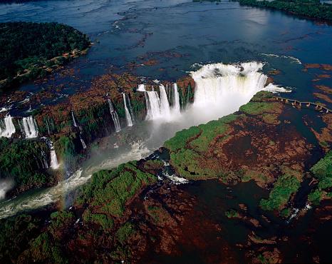 Aerial view of the Iguaçu falls the world\