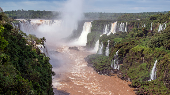 The canyon of the Iguaçu River culminates in the 260-foot high Devil's Throat, the largest of roughly 270 individual waterfalls at Iguaçu.