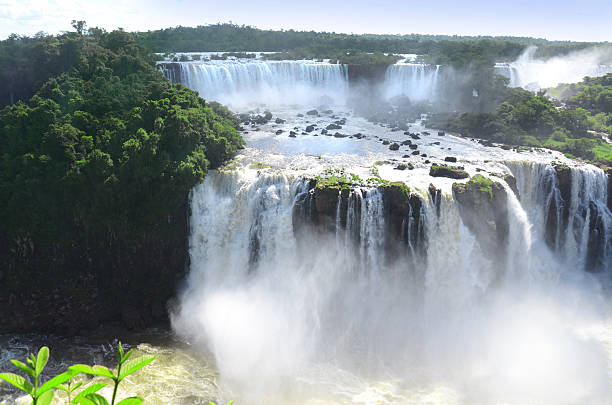 Iguazu Falls in Argentina and Brazil Border stock photo