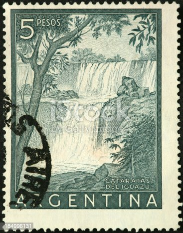 Iguazu Falls on an old Argentina postage stamp