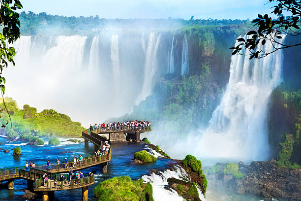 iguazu falls, on the border of argentina and brazil - south america travel stock photos and pictures