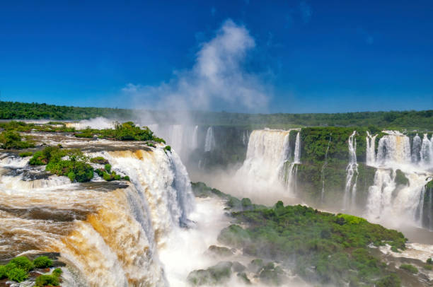 Iguazu falls on the border of Argentinia and Brazil in South America stock photo