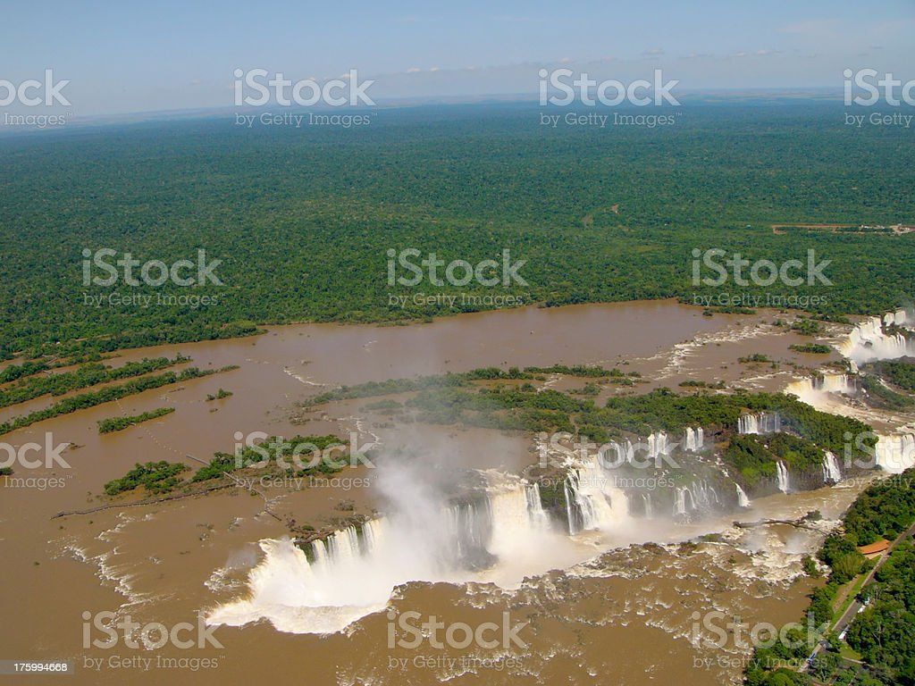 Iguazu waterfalls from helicopter royalty-free stock photo