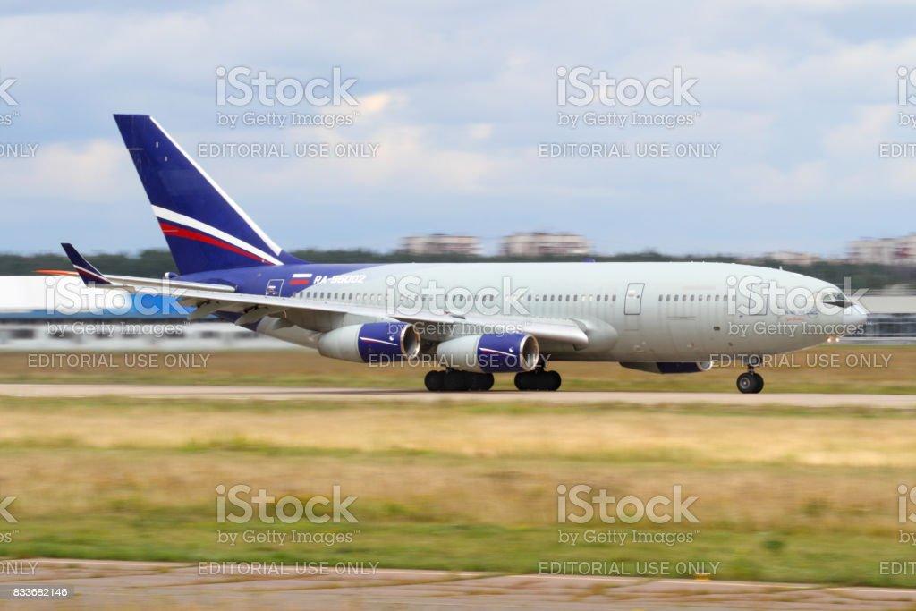 IIlyushin IL-96-300 RA-96002 taking off at Zhukovsky. stock photo