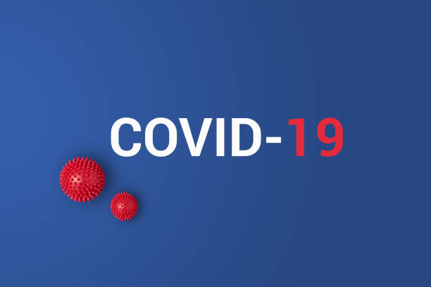 iinscription covid-19 on blue background with red ball - covid zdjęcia i obrazy z banku zdjęć