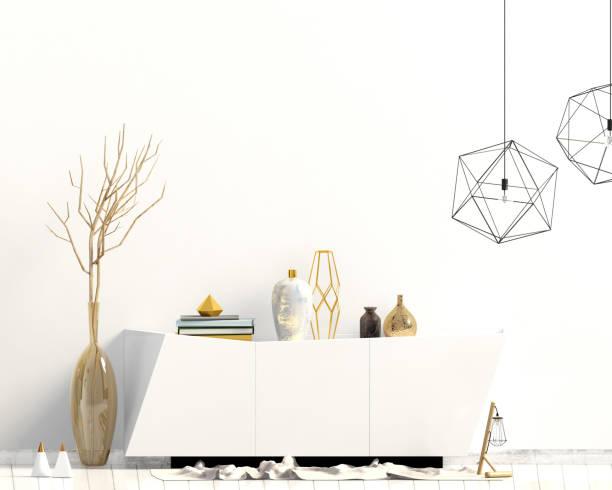 iinterior design im zeitgenössischen stil. mock-up wand. 3d illustration. - dielenkommoden stock-fotos und bilder