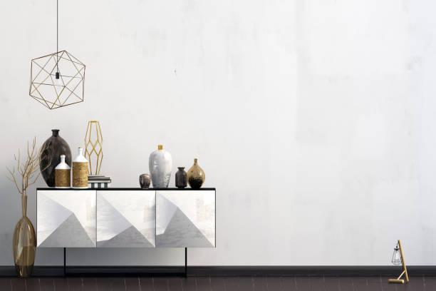 iinterior design im zeitgenössischen stil. mock-up wand. 3d illustration. - sideboard skandinavisch stock-fotos und bilder