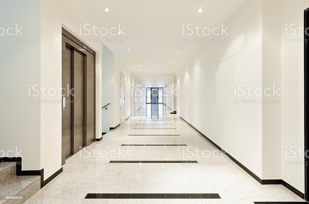 Iinterior, view of the long corridor royalty-free stock photo