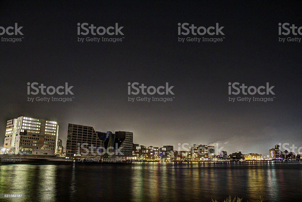 IJ-Bank in Amsterdam at Night stock photo