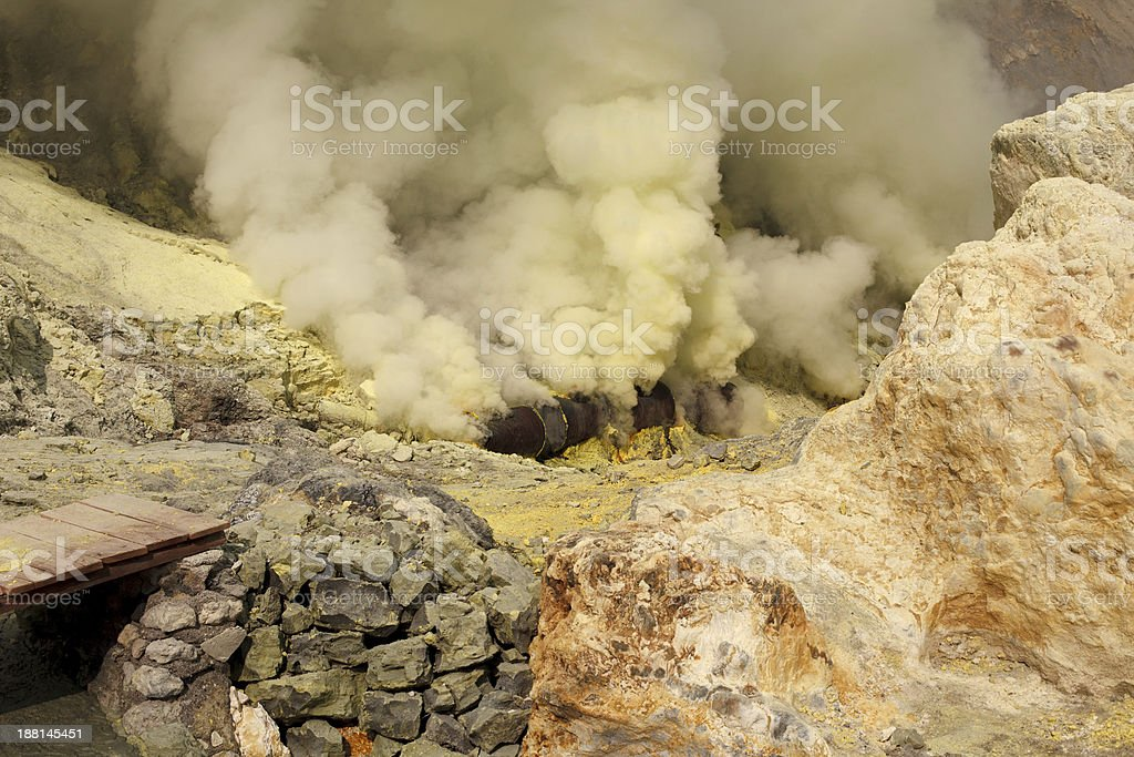 Ijen volcano crater sulfur mining royalty-free stock photo