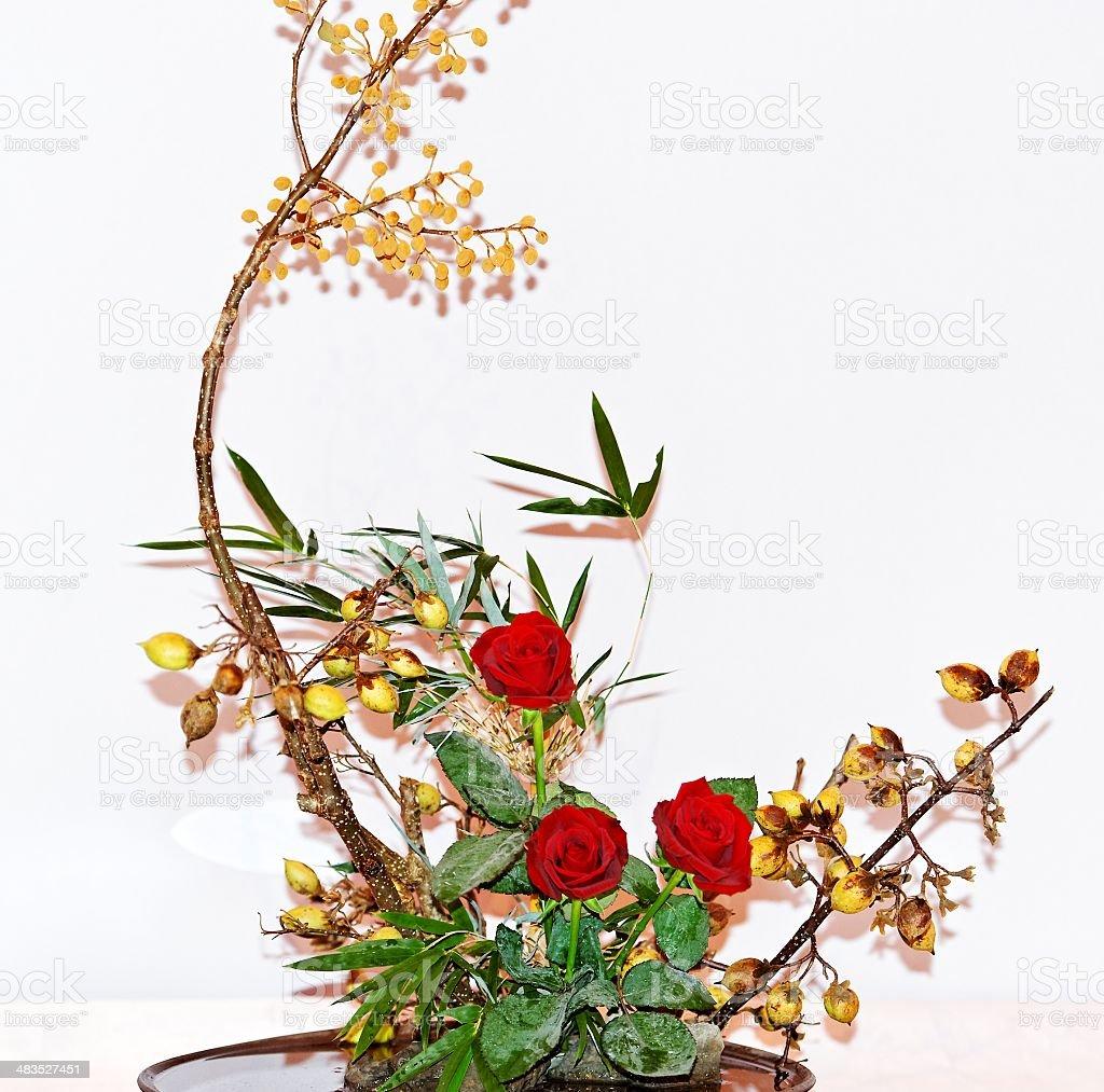 Ikebana flower arrangement royalty-free stock photo