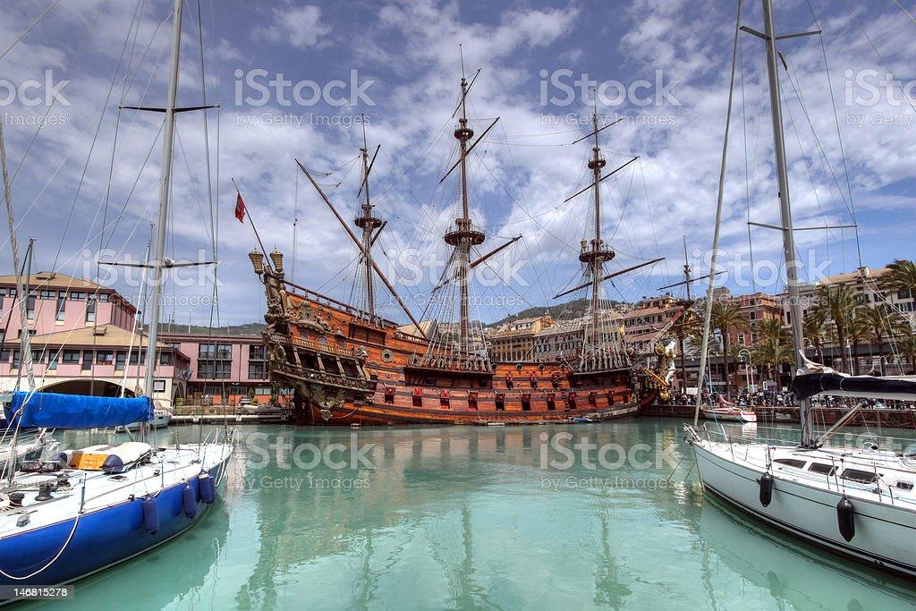 Il Galeone Neptune in port of Genoa, Italy stock photo