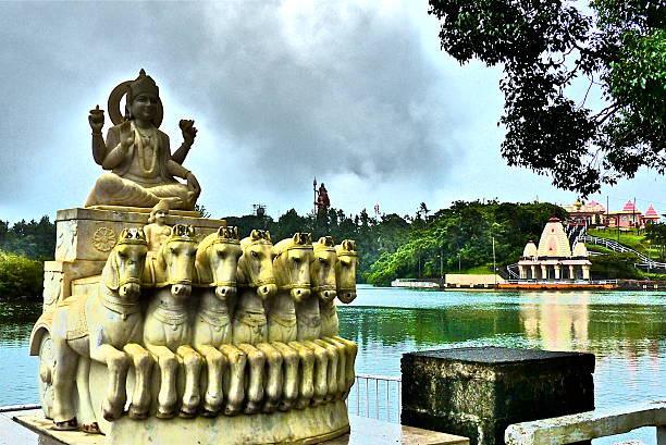 Ile Maurice- Grand Bassin, Surya sun god, statue stock photo
