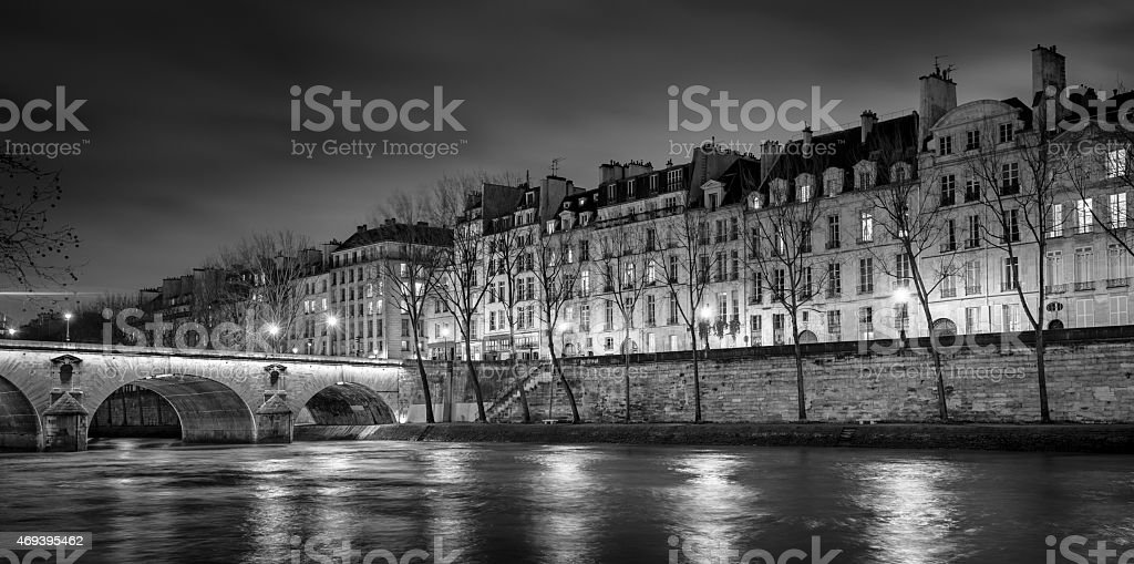 Ile Saint Louis And Pont Marie At Night Paris France Stock