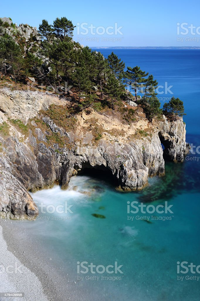 Ile Vierge and the beach, Crozon Peninsula stock photo