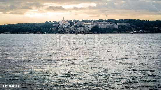 Iles du Lerin or Sainte Marguerite island scenic view with the Fort Royal taken from Pointe de la Croisette in Cannes France