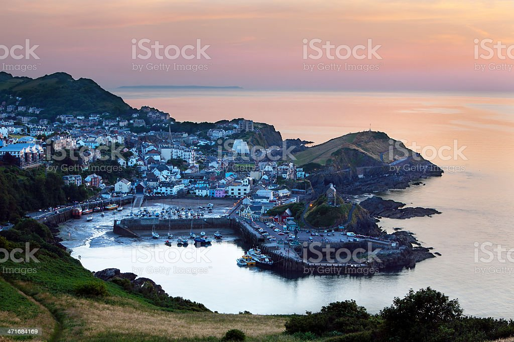 Ilfracombe at sunset, North Devon, UK stock photo