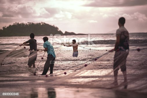 Ilha Do Mel, Paraná, Brazil - June 3, 2017: Native fishermen from Ilha do Mel (Honey Island) pulling the net with fish, for the Feast of the Mullet.
