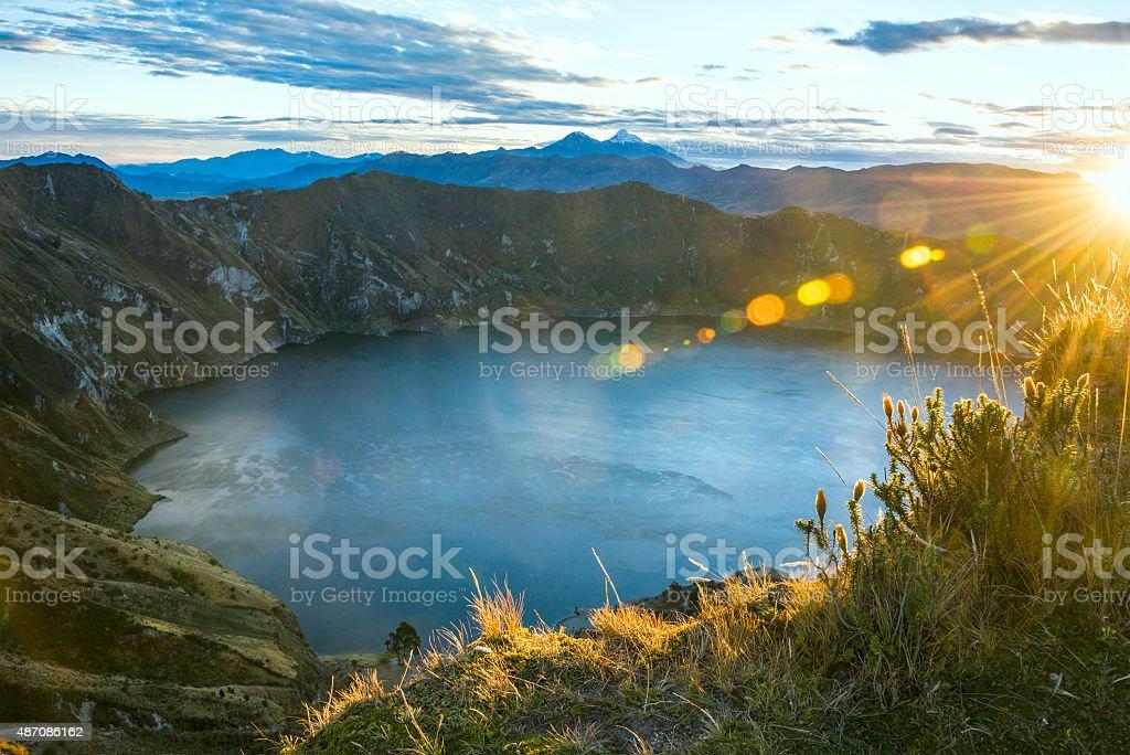 Ilinizas Volcanos under the Quilotoa lagoon, Andes. Ecuador stock photo