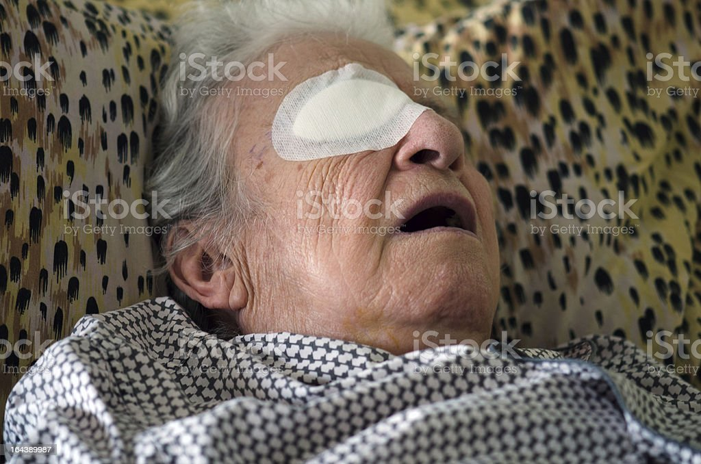 ill person who had an eye operation royalty-free stock photo